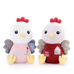 Wholesale Rooster Plush - Cute Stuffed Soft Farm Animal Plush Toys Pink Rooster Doll Peluches Peluche Suave Chicken Gifts Jugetes Para Ninos Dolls 60G0210