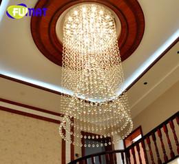 Wholesale Large Bulb Pendant Light - FUMAT Luxury Large Crystal Indoor Lamp Simple Creative Modern pendant light for Penthouse Floor Hall Stair Circular Shape LED Bulbs