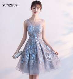 Wholesale Knee Length Corsets - Junior High Graduation Dresses Sheer Tulle Neck Sexy See-through Corset Cheap Short Party Dress Grey Homecoming Gowns With Embroidery Flower