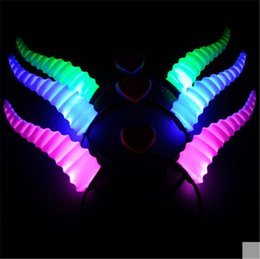 Wholesale Light Up Horn Headbands - Wholesale- 15pcs lot High Quality LED flashing horns headwear toys Luminous headband light up kids toy glow party supplies hair accessories