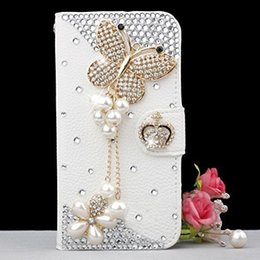 Wholesale Iphone4 Flip Covers - Hand-made 3D Bling Luxury Flip Leather Wallet Magnetic Diamond Cover Cases For iPhone4 5 SE 6 Plus 7 7 Plus Samsung Galaxy S5 S6 S6 S7 EDGE