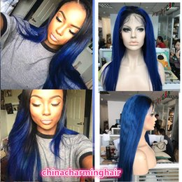 Wholesale Two Toned Blue Lace Wig - ombre blue Human Hair Full Lace Wig dark root blue Lace Front Wig silky straight blue Two Tone dark root human hair wig