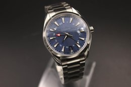 Wholesale Butterfly Rearing - Luxury AAAAA classic high quality master series 231.90 silver steel ETA8605 automatic movement transparent rear shell blue dial GMT men's