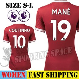 Wholesale Ladies White Uniform Shirt - SADIO MANE COUTINHO 2017 2018 Soccer Jersey Women Ladies Football Shirt Home Red Uniforms Thai Quality Maillot NABY KEITA SALAH FIRMINO
