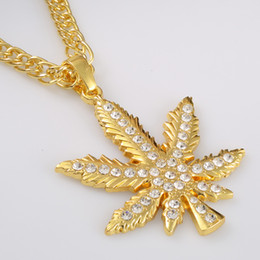 Wholesale Leaf Crystal Necklace - New Hip Hop Rapper Gold Silver Plated Crystal Maple Leaf Long Pendant Statement Necklace Women Men Vintage Jewelry