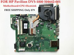 Wholesale Motherboard Hp Dv5 - High quality Laptop motherboard+CPU+Heatsink for HP Pavilion DV5-1000 504642-001 482868-001 GM45 Fully tested&Working perfect