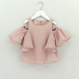 Wholesale Summer Clothes For Children Girls - Girls Blouse Kids Baby Girl Clothes Cotton Tops Lace School White Blouses For Girls falbala Short Shirts 2017 summer Children Clothing T2540