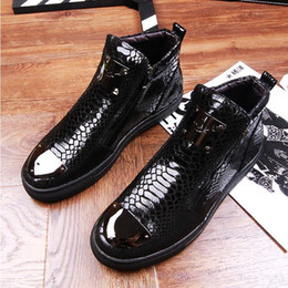 Wholesale Korean Zipper Boots - 2017 European station sequins leather high-top shoes Korean side zipper increased Martin boots British hair stylist casual men's shoes