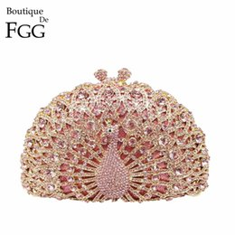 Wholesale Dress Shell Pink - Wholesale- Gift Box Women Luxury Crystal Evening Bags Multi Rhinestones Wedding Dress Peacock Clutch Purse Hard Metal Clutches Shoulder Bag