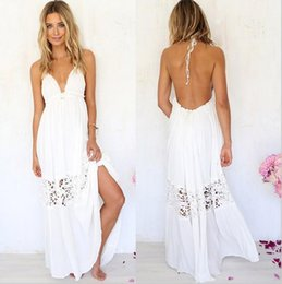 Wholesale Vintage Lace Crochet Sleeveless - 1PCS White Vestidos Summer Fashion Women Sexy Spaghetti Strap Dress V Neck Crochet Lace Waist Skater Dress Casual Party long Dress M46