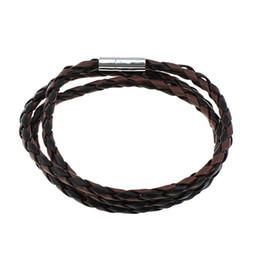 2020 braccialetto di cuoio all'ingrosso della corda All'ingrosso-Nuovo arrivo punk moda gioielli braccialetto di corda uomo donna Cool Wristband Wrap 3 fili bracciali corda in pelle intrecciata braccialetti regalo braccialetto di cuoio all'ingrosso della corda economici