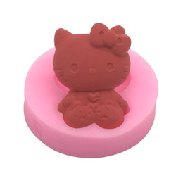 Wholesale Silicone Handmade Soap Eu - Soft Silicone Cat Kitty Fondant Mold Sugar Craft Cake Decorating Tools DIY Handmade Soap Mould Gum Paste Chocolate Topper AC002