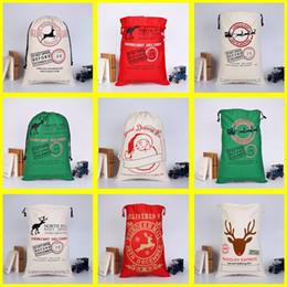 grandi sacchetti di santa all'ingrosso Sconti Sacchetto del regalo di Natale del cordone all'ingrosso 100pcs / lot Grande Santa Sacchi Borse di tela Regali di Natale Calze