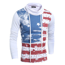 Wholesale Usa Collared Shirt - Men's Spring Casual T Shirt USA National Flag Print Pullovers High Neck Long Sleeve Sweatshirts with Drawstring T61
