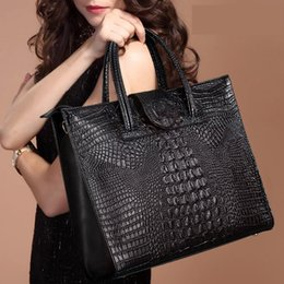 Wholesale Briefcase Portfolio Woman - Wholesale- New Crocodile Women Leather Handbags Fashion Women Bag Ladies Shoulder Bags Purse Handbag Brand Portfolio Briefcase 2016