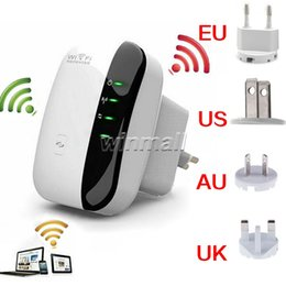 Wholesale Wifi N Booster - DHL 60pcs Wireless-N Wifi Repeater 802.11n b g Wall Socket 300Mbps Wi-fi Signal Amplifier Range Expander Signal Boosters Wps Encryption