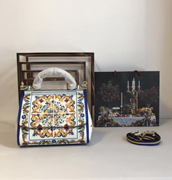 Bolsas azuis brancas on-line-2017 d novo estilo sicília impressão colorida bolsa de couro das mulheres azul e branco da porcelana único ombro sacola messenger bag camada superior cowhid