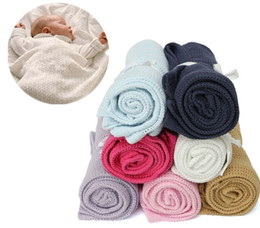 Wholesale Jacquard Super Color - Newborn Baby Blankets Super Soft Cotton Crochet Swaddles 100 x 80cm Pure Color Occasional Infant Wrap for Summer Bed Sleeping