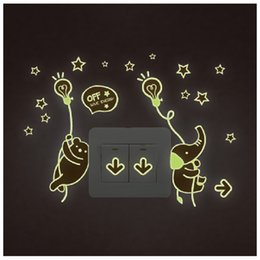 Wholesale Cute Light Switch Stickers - Y0040 Night Light Luminous Stickers Home Decor Animals Wall Sticker for Kids Rooms Wall Decals Cute Animals