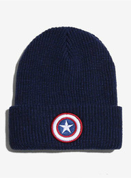 Wholesale Street Trade - 2016 new foreign trade Europe America Captain America star flag fall winter warm wool hat knitted hat hedging valgus soft