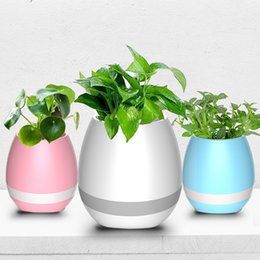 Wholesale Flowerpot Plastics - Smart Wireless Bluetooth Music Flowerpot Speaker Chrismas gift Vase Intelligent Plant Piano Music with Colorful LED Night Light
