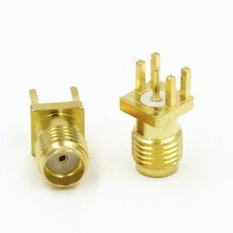 Wholesale Sma Pcb Mount Jack - 100pcs\Lot Freeshipping Gold SMA Female Jack Solder PCB Clip Edge Mount Straight RF Adapter Connector 0.062'' 1.6mm