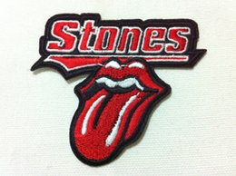 Wholesale Tongue Cm - Wholesales~10 Pieces Rolling Tongue Lips Stone (8.5 x 7.5 cm) Punk Patch Embroidered Applique Iron on Patch (B)