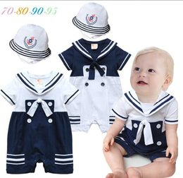 Wholesale Navy Style Hat - baby Rompers one-Piece Romper Jumpsuits baby navy style shorts-sleeved Romper +hat baby boy Jumpsuits & Rompers romper