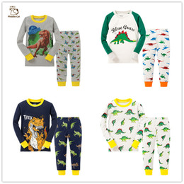 Wholesale Cotton Pjs Wholesale - Boys Dinosaur pajamas 100% Cotton Long toddler kids clothes sleep pjs
