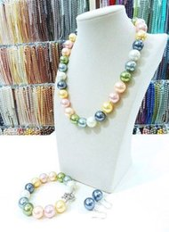 Wholesale Multicolor Jade Bracelet - 12MM multicolor South Sea shell pearl necklace bracelet earrings set mm7