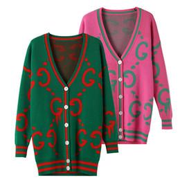 Wholesale Cardigan Style Women - 2017 New Autumn Winter Women Knitwear Monogram Letter Print Longer Knit Sweater Cardigan Wool Coat Female Outwear