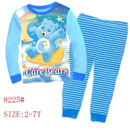 Wholesale Care Bear Wholesale - 2016 baby care bears clothes wholesale two piece cartoon suit boys girls long sleeve t-shirts pants clothing sets size 2-7Y 8743