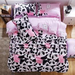 Wholesale Duvet Cover Sets Single - Wholesale- B&W Panda Bedding Set Cotton Bed Sheet bedspread Duvet Cover Set Queen King Size for Single Double Bed Panda 4pcs Bedding Set
