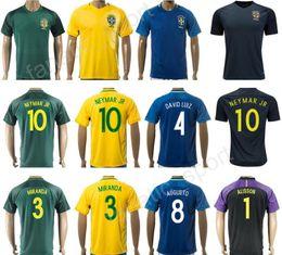 Wholesale Custom Black Football Jerseys - 2018 Camisa de futebol 10 NEYMAR Soccer Jersey Brazil Custom 3 Thiago Silva Brasil Football Shirt Custom 19 WILLIAN 4 DAVID LUIZ 18 PAULINHO
