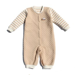 Wholesale Green Babies Organic Clothing - Organic cotton baby jacket cotton body clothes climbing winter thicker air layer Siamese pajamas boys and girls pajamas