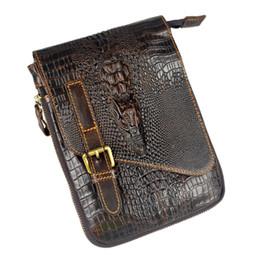 Wholesale Ipad Crocodile Mini - Wholesale-Crocodile Style new genuine leather bags for men small messenger bags ipad mini crossbody shoulder bag handbag male cowhide
