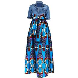 Wholesale Long Summer Womens Cotton Dresses - Womens African Print Dashiki Skirts Long Maxi A Line Skirt Ball Gown Maxi Dresses 20 Colour S-5XL