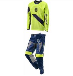 Wholesale Dh Mtb - Husqvarna Motorcycle Pants Racing T-Shirt Motocross Suit Off-Road Dirt Bike DH Jersey + Moto MX Pants Suit DH MTB Clothing