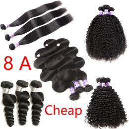 Wholesale Cheap Deep Wave Remy Hair - Cheap Mongolian Kinky Curly Straight Body Loose Deep Wave Curly Hair Weft Human Hair Brazilian Peruvian Indian Malaysian Hair Extensions