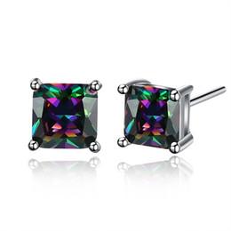 Wholesale Wholesale Rainbow Earrings - INANIS Womens Fashion Jewelry Rainbow Colorful Cubic Zirconia Stud Earrings