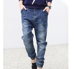 Wholesale Cotton Baggy Pants - Wholesale-Free shipping 2015 New spring Men's Stretch Denim Joggers Men Cotton Baggy Jeans Fashion Harem Pants Plus Size 5XL jeans men