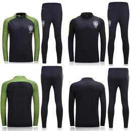 Wholesale Polyester Uniform Pants - A+++quality jersey-Brazil training suits Uniforms shirts Chandal NEYMAR JR tracksuits Survetement long sleeve tight pants With zipper