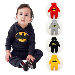 Wholesale Baby Long Sleeve Romper Bodysuits - 2017 Winter Thick Baby Romper Fleece Batman Infant Jumpsuit Costume Babies Overall Bebe Roupas Hooded Rompers Newborn Clothes Bodysuits