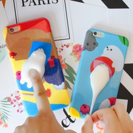 Wholesale Plastic Toy Apples - Cute Squishy Toy 3D Soft Silicone Cat Squish TPU Phone Case for iPhone 6 6s 6Plus 6sPlus 7 7Plus Phone Shell