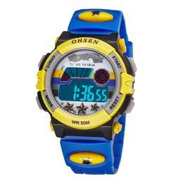 Wholesale Ohsen Lcd - TOP sale 2017 OHSEN brand digital quartz Wrist watch kids girls 50M waterproof pink silicone strap LCD back light alarm clock