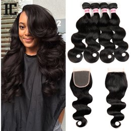 Wholesale Cheap Brazilian Hair Unprocessed - HC Hair Brazilian Body Wave With Closure Hair With Free Closure 4PCS Cheap Unprocessed Brazilian Hair With Lace Closure Body Wave