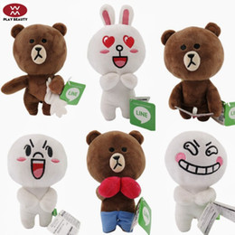 Wholesale Wholesale Plush Rabbit Toys - LINE TOWN Cony rabbit and Brown bear Plush Toys Stuffed Doll for Girlfriend Children Gifts 18CM