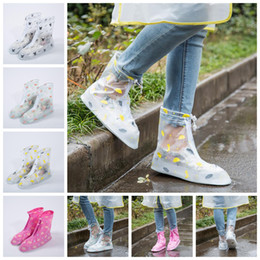 Wholesale Waterproof Slip Shoe Covers - Waterproof PVC Reusable Rain Shoe Covers Anti-Slip Printed RainShoe Zipper Rain Boot Overshoes Waterproof Wear Resistant Shoes Cover OOA2710