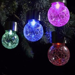 Wholesale Hanging Solar Lights For Garden - solar battery operated led ball light colour chaning LED Crackle Glass Hanging Lights outdoor for yard holiday decoration