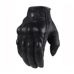 Wholesale Wholesale Bike Gloves - Retro Perforated and no Perforated Leather Motorcycle Gloves 2 Style Cycling bike Motorbike Protective Gears Motocross Glove